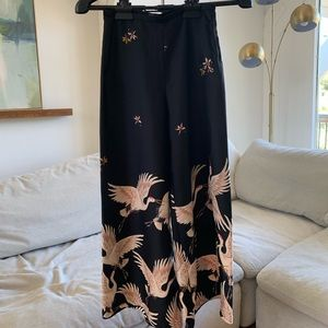 Zara Wide Leg Black Pants w Crane Print